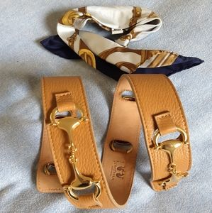 Italian Leather belt from Milan, with silk foulard